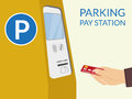 Parking pay station payment by credit card at Stock Photography