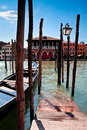 Parking place for Gondolas in Venice. Grand canal, Italy. Royalty Free Stock Photo