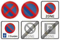 Parking restrictions in germany collection of german traffic signs about and stopping including with disc Stock Photos