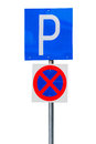 Parking road sign photograph of a isolated on white background Royalty Free Stock Images