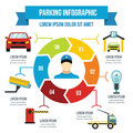 Parking service infographic concept, flat style