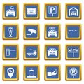 Parking set icons set blue