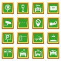 Parking set icons set green