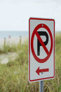 Parking sign on a beach Royalty Free Stock Photo