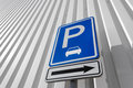 Parking sign in urban area Royalty Free Stock Images