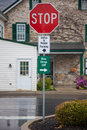 Parking signs in amish county, Lancaster, PA. Royalty Free Stock Photo