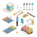 Parking Signs 3d Icons Set Isometric View. Vector