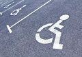 Row of parking sign for disabled people Royalty Free Stock Photo