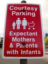 Parking space for expectant mothers and parents with infants Royalty Free Stock Photo