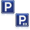 Parking traffic signs for both and paid zones Stock Photo