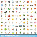 100 parkland icons set, cartoon style Royalty Free Stock Photo