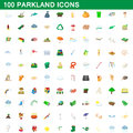 100 parkland icons set, cartoon style