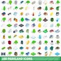 100 parkland icons set, isometric 3d style
