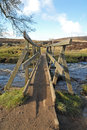 Parley Gorge Wooden Bridge, Derbyshire Peak District Stock Images