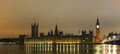 Parliament building with big ben panorama in london uk the night Royalty Free Stock Photos