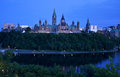 Parliament buildings and library at night ottawa ontario canada Royalty Free Stock Photos
