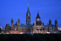 Parliament buildings and library at night ottawa ontario canada Stock Photo