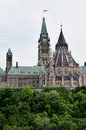 Parliament buildings ottawa ontario canada seen from river Stock Image