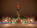 Parliament hill at christmas the center block of the buildings time in ottawa ontario canada Stock Images