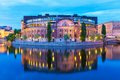 Parliament house in stockholm sweden scenic summer evening view of the riksdaghuset the old town gamla stan Royalty Free Stock Photo