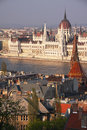 Parliament hungarian as seen from buda hill in budapest Royalty Free Stock Image