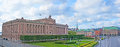 The parliament of sweden stokholm october east facade building with scenic garden and norrbro bridge connecting Royalty Free Stock Image