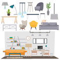 Parlour interior vector illustration flat set abstract rooms apartment house home design Stock Images