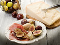 Parma ham, parmesan cheese Stock Images
