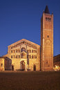 Parma italy cathedral duomo di and bell tower in at dusk Royalty Free Stock Image