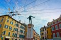 Parma italy colorful mediterranean architecture and monument to soldier filippo corridoni the inauguration of this monument took Stock Images