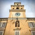 Parma italy emilia romagna region town hall with famous sundial Royalty Free Stock Photos