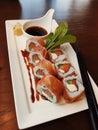 Parma maki ham japanese cuisine Royalty Free Stock Photo