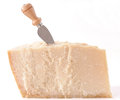 Parmesan cheese with knife Royalty Free Stock Photo