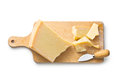 Parmesan cheese on white background Royalty Free Stock Images