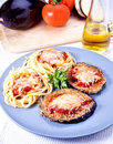 Parmigiana eggplant  and pasta Royalty Free Stock Images