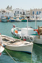 Paros island boats at naoussa harbor in greek of Stock Photo