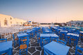 Paros island restaurants in the port of naousa village on greece Royalty Free Stock Image