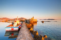 Paros island view of the port in naousa village on greece Stock Images