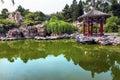 Parque rojo pekín china de la ciudad de temple of sun de la charca del pabellón Fotografía de archivo