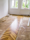 Parquet laying an image of a new in the flat Royalty Free Stock Image