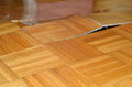 Parquet lifted up damage of wooden floor under influence of destructive elements Royalty Free Stock Image