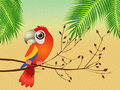 Parrot illustration of on branches Stock Photo
