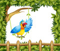 A parrot and the leafy green border illustration of Stock Images