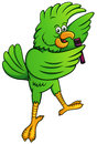 Parrot singing with microphone cartoon