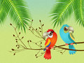 Parrots on branches illustration of Royalty Free Stock Photography
