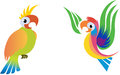Parrots bright multi coloured cartoon style illustration Stock Photography