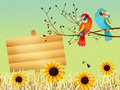 Parrots illustration of on branches Royalty Free Stock Images