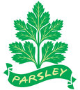Parsley label symbol green leaves of Royalty Free Stock Images
