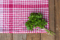 Parsley on a red kitchen rag Stock Photos