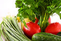Parsley, tomato, cucumber, pepper and onion Royalty Free Stock Photo